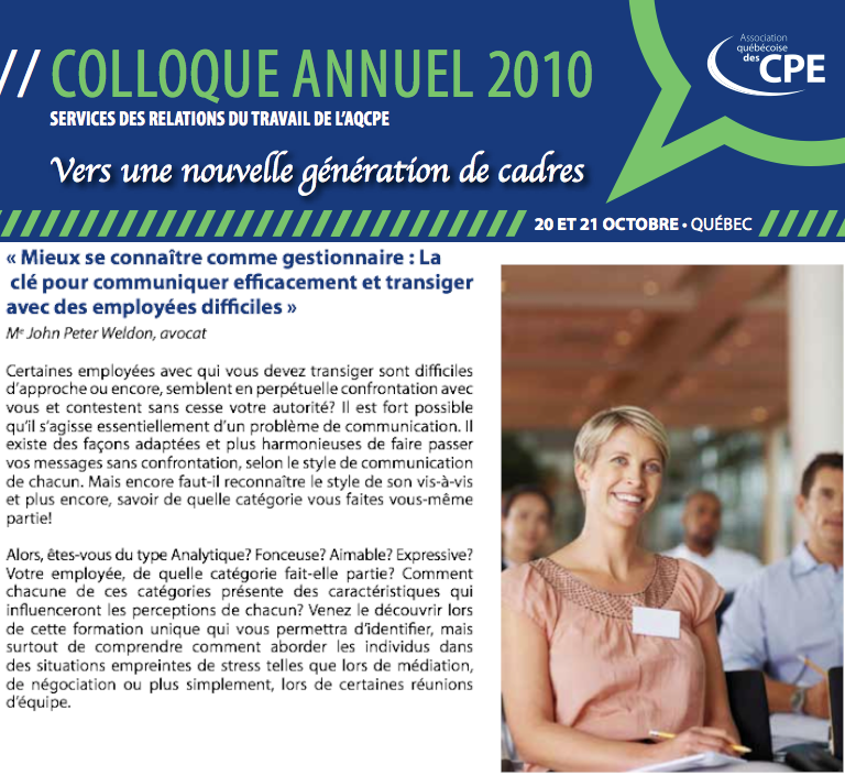 AQCPE Colloque 2010